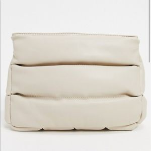 ASOS DESIGN clean clutch bag in white quilted puff